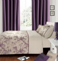 PLUM PURPLE COLOUR LUXURY MODERN STYLISH JACQURD PATTERN DUVET QUILT COVER SET